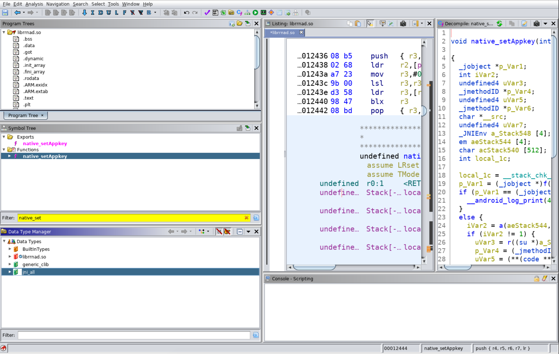 Screenshot of jni_all Loaded in Data Type Manager